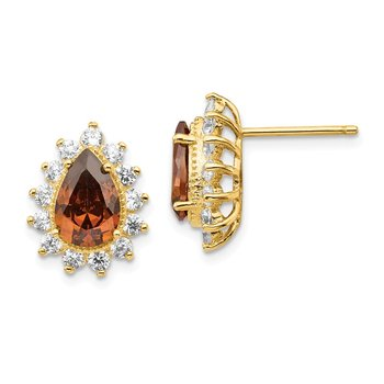 Cheryl M Sterling Silver Gold Plated CZ & Brown CZ Stud Earrings