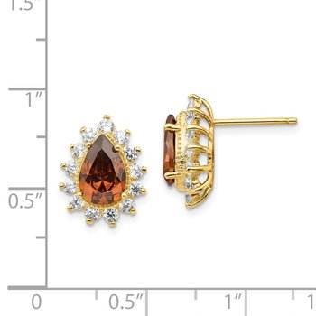 Cheryl M SS Gold Plated CZ & Brown CZ Stud Earrings