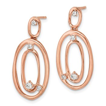 14k Rose Gold Diamond Oval Dangle Earrings