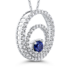 Essentials 10K White Gold 5/8 Ct Diamond with 3/8 Ct Sapphire Circle Pendant with Chain