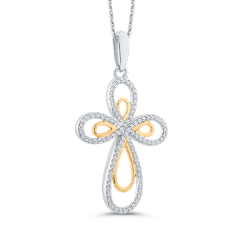 Round Cut Diamond Cross Pendant