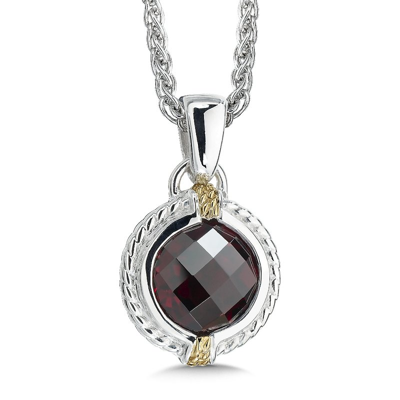 Colore Sg Sterling Silver, 18K Gold and Garnet Pendant