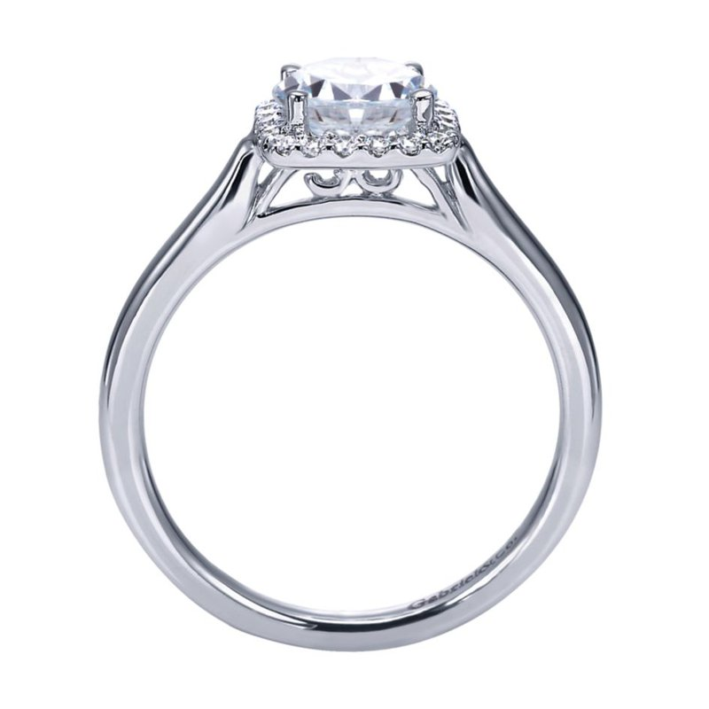 Gabriel Bridal 14K White Gold Round Halo Diamond Engagement Ring
