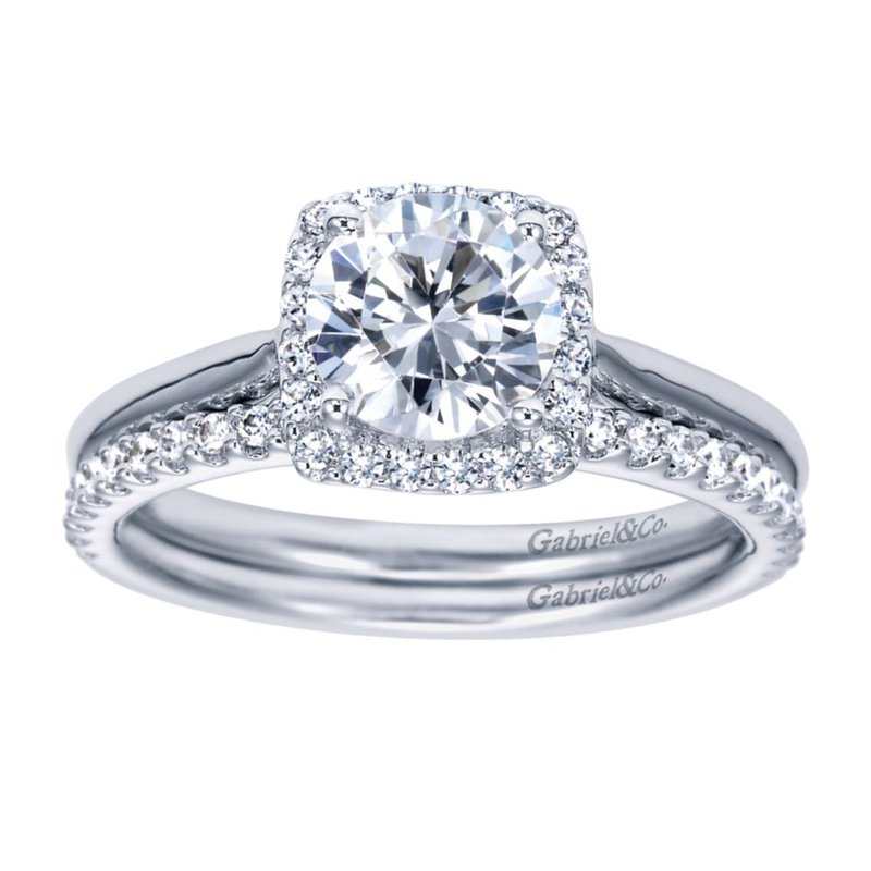 Gabriel & Co. New York 14K White Gold Round Halo Diamond Engagement Ring