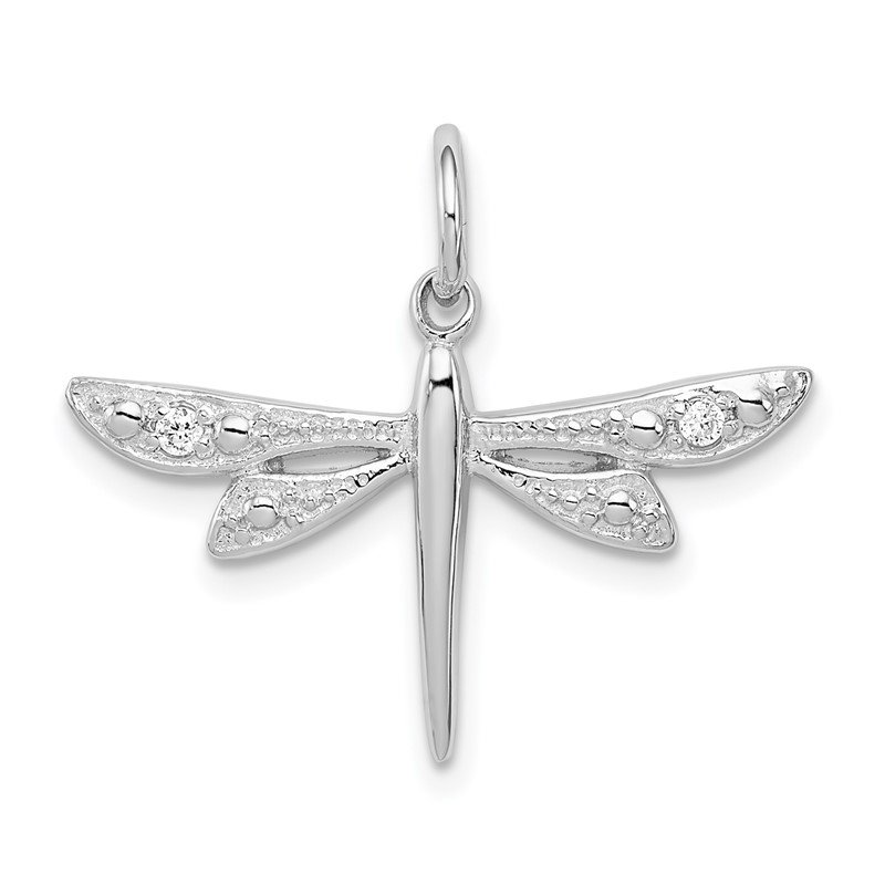 Quality Gold Sterling Silver Rhodium-plated CZ Dragonfly Pendant