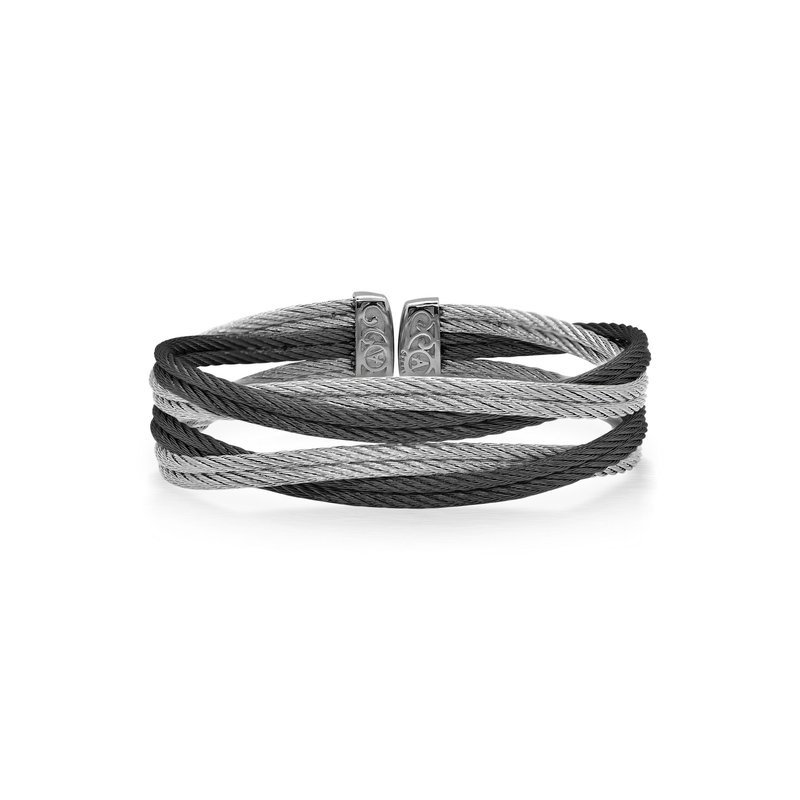 ALOR Black & Grey Cable Entwine Cuff