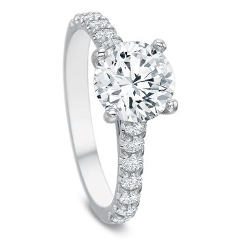 18K White gold Semi Mount for 1.00-2.00 ct center