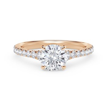 Forevermark Icon™ Setting Round Engagement Ring with Diamond Band