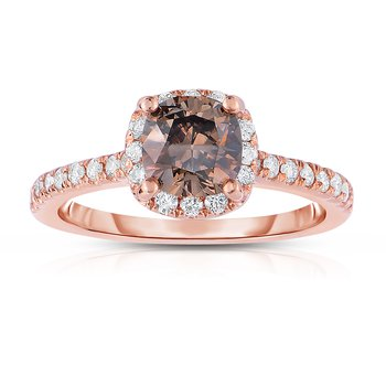 1.39ctw Rose Gold Diamond Engagement Ring with 1ct Cushion Cut Natural Mocha Center