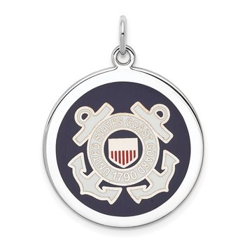 Sterling Silver Rhodium-plated US Coast Guard Disc