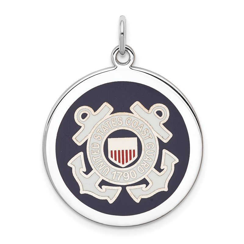 Quality Gold Sterling Silver Rhodium-plated US Coast Guard Disc