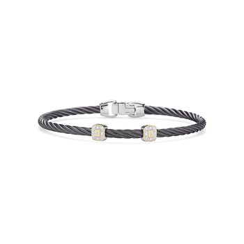 Steel Grey Cable Essential Stackable Bracelet with Double Square Diamond Station set in 18kt Yellow Gold