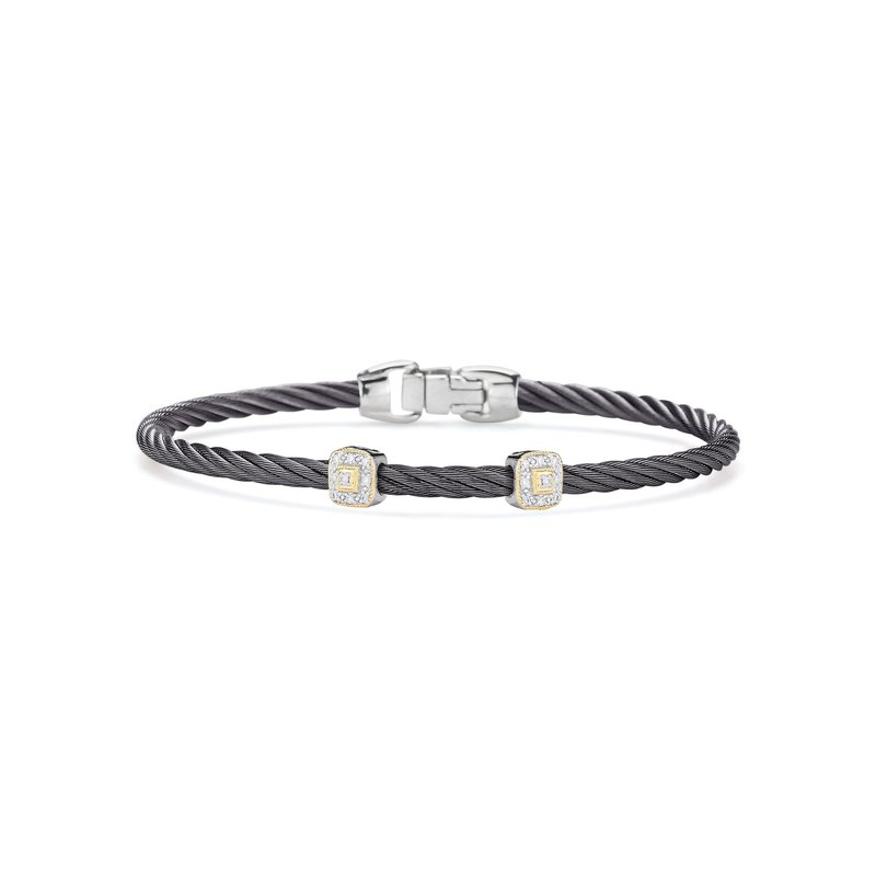 ALOR Steel Grey Cable Essential Stackable Bracelet with Double Square Diamond Station set in 18kt Yellow Gold
