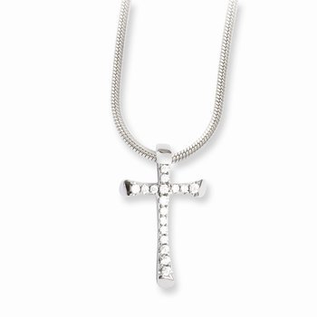 SS Rhodium-Plated CZ Brilliant Embers Cross Necklace
