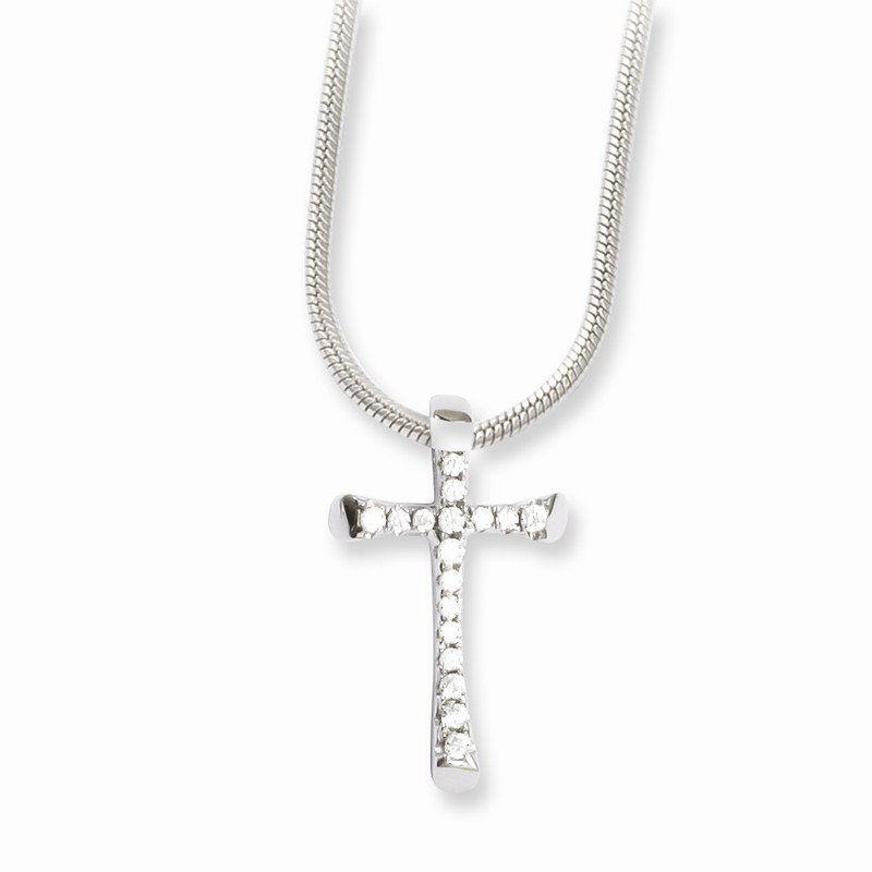 Quality Gold Sterling Silver & CZ Brilliant Embers Cross Necklace