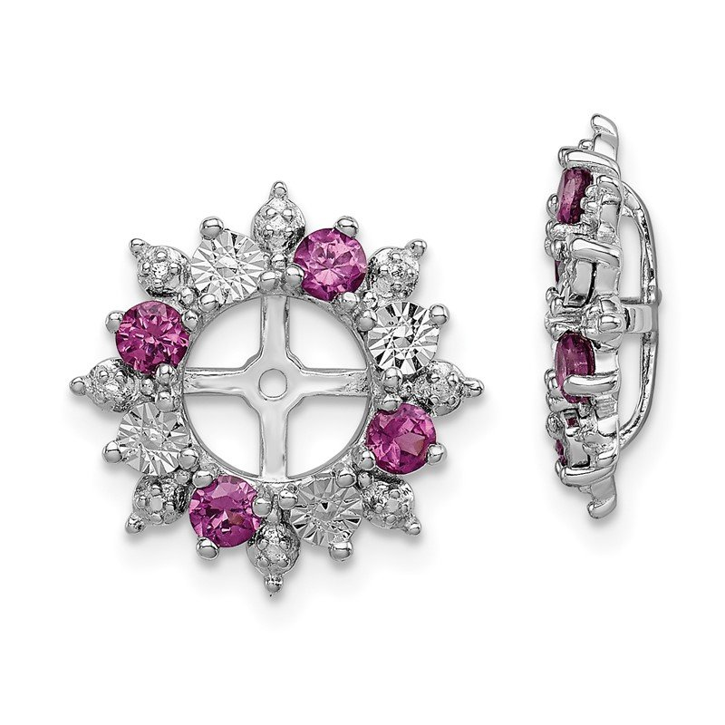J.F. Kruse Signature Collection Sterling Silver Rhodium Rhodolite Garnet Earring Jacket