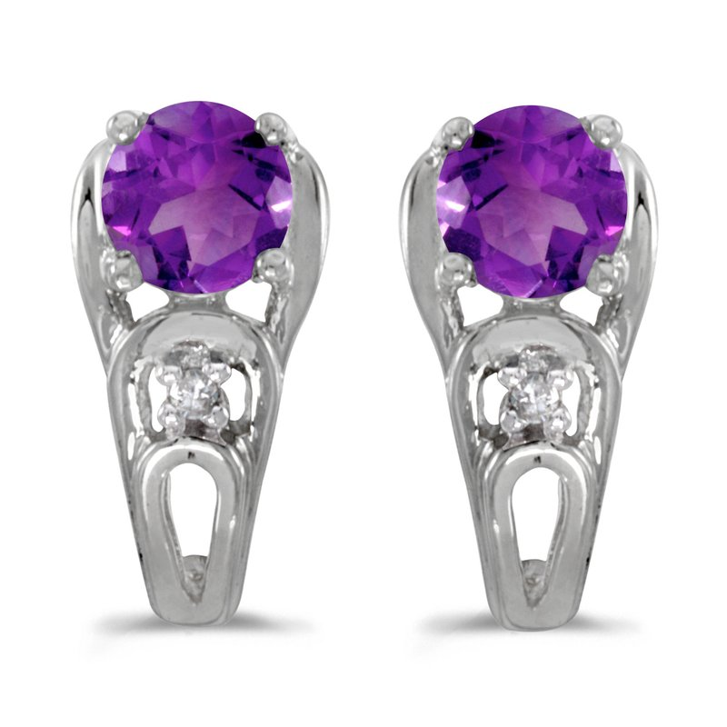 10k White Gold Round Amethyst And Diamond Earrings