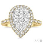 ASHI pear shape lovebright essential diamond ring