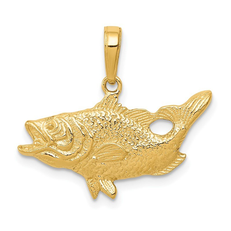 Quality Gold 14k Open Mouthed Bass Fish Pendant