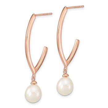 Sterling Silver Rose-tone 18k Flash-plated 8-9mm Rice FWC Pearl Earrings