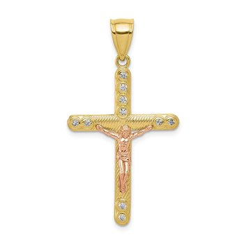 10k Two-tone CZ Crucifix Pendant