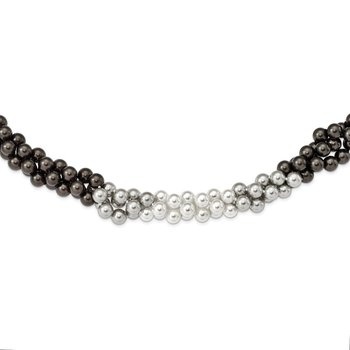 Sterling Silver Majestik Rh-pl 3 Row 10-11mm Gry/Wt/Blk Shell Necklace