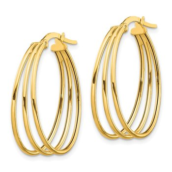14k Polished Triple Oval Hoop Earrings