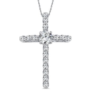 Diamond Cross Pendant in 14K White Gold (0.96 ct. tw.)