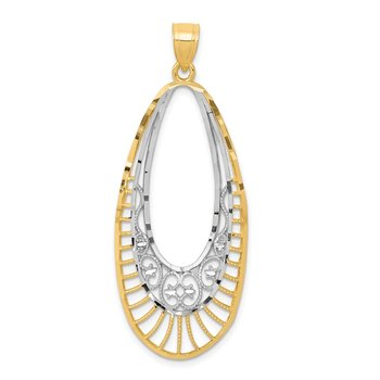 14k & Rhodium-plated Oval Pendant