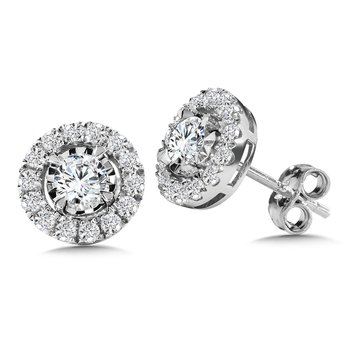Diamond Star Round Halo Stud