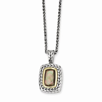 Sterling Silver w/14k Oblong Black Mother of Pearl 18in Necklace