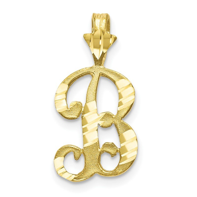 Quality Gold 10k Diamond-cut Grooved Initial B Charm