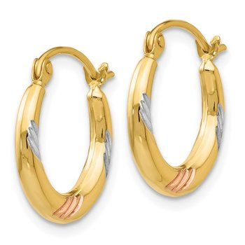14k & White & Rose Rhodium Polished & Textured Hoop Earrings