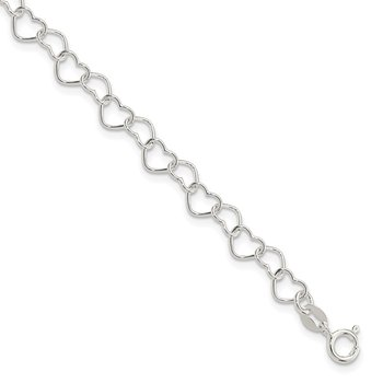 Sterling Silver 18inch Polished Fancy Heart Link Necklace