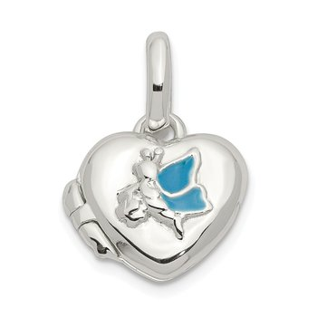 Sterling Silver Blue Enamel Heart Locket