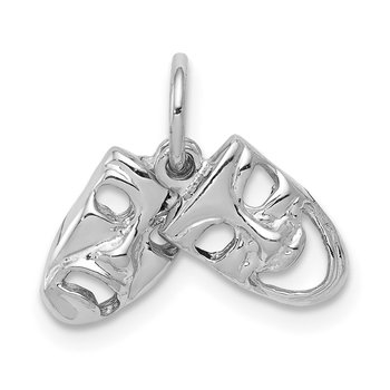 14k White Gold Comedy/Tragedy 2-Piece Charm