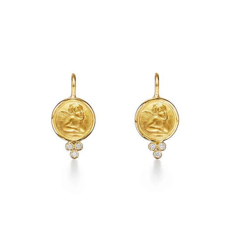 Temple St. Clair 18k Yellow Gold Angel Earrings