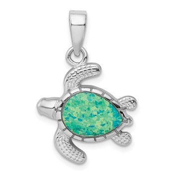 Sterling Silver Rhodium-plated Green Inlay Created Opal Turtle Pendant