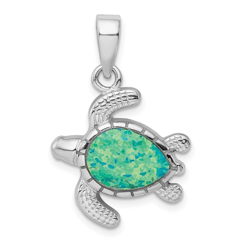 Lester Martin Online Collection Sterling Silver Rhodium-plated Green Inlay Created Opal Turtle Pendant