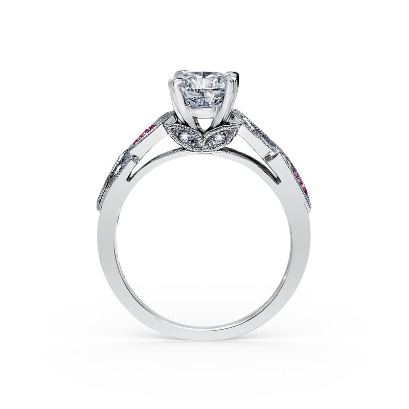 Pink Sapphire Diamond Floral Engagement Ring
