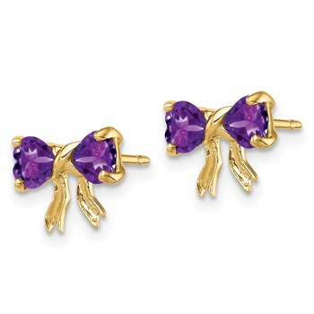 14k Gold Polished Amethyst Bow Post Earrings