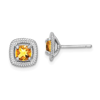 Sterling Silver Rhod-plat Citrine Square Post Earrings