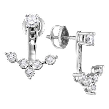 10kt White Gold Womens Round Diamond Earring Jacket Studs 5/8 Cttw