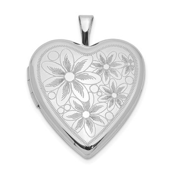 Sterling Silver Rhodium-plated 20mm Textured Daisies Heart Locket