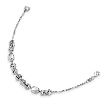 Sterling Silver Rhodium-plated Beaded Fancy Bracelet