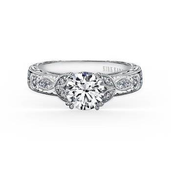 Leaf Marquise Diamond Engagement Ring