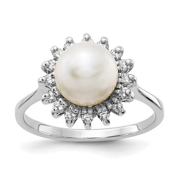 14k White Gold 7.5mm FW Cultured Pearl AAA Diamond ring