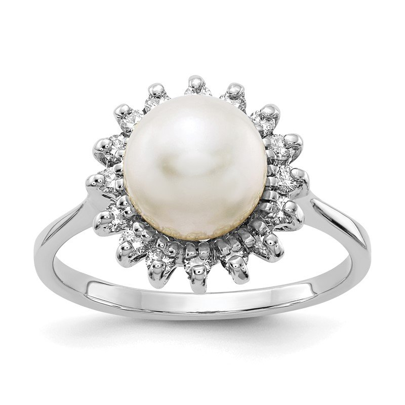 Quality Gold 14k White Gold 7.5mm FW Cultured Pearl AAA Diamond ring