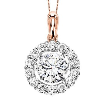 14KP Diamond Rhythm Of Love Pendant 2 1/2 ctw (2 ct Center)