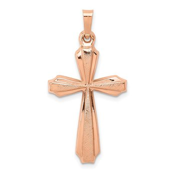 14K Rose Gold Textured And Polished Passion Cross Pendant